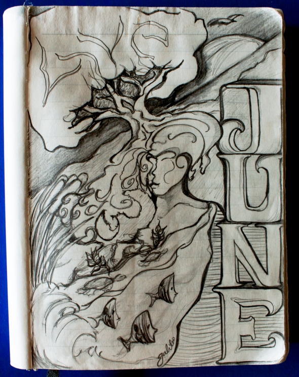 """Free-hand illustration """"June"""" while traveling"""