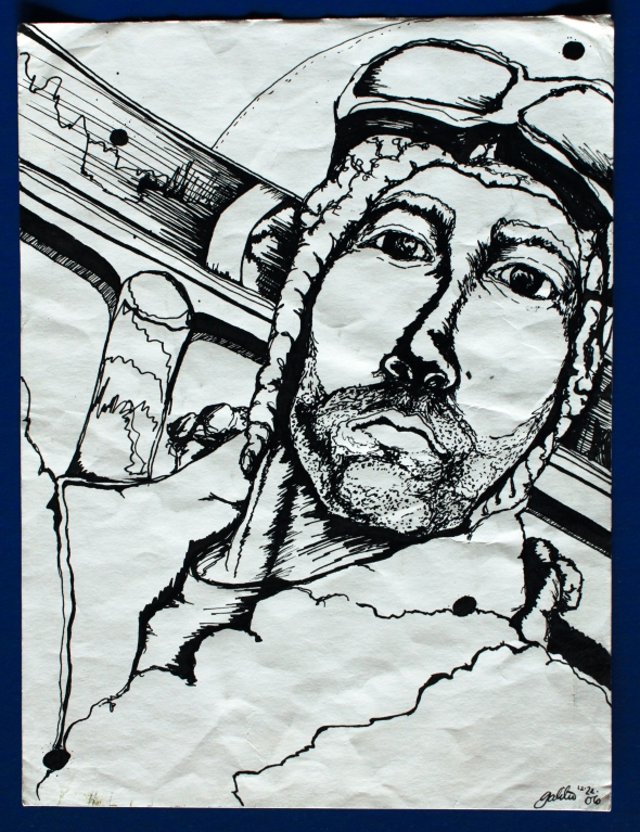 Snowboarder done in pen and ink